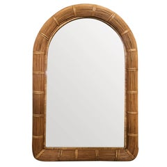 Restored Stick Rattan Wall Mirror with Large Rattan Wrappings