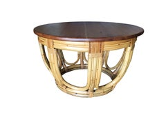 Restored Round Rust Rattan Coffee Table with Mahogany Top and Fancy Wrappings
