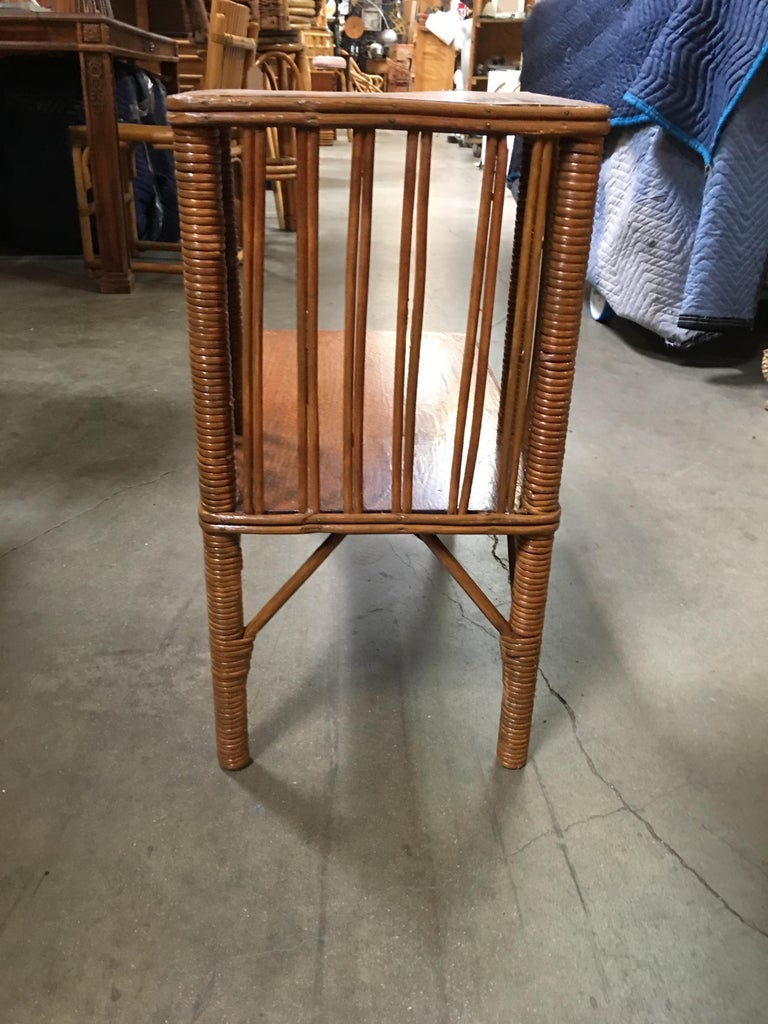 Restored Early Two-Tier Stick Rattan Side Table with Mahogany Tabletop In Excellent Condition For Sale In Van Nuys, CA