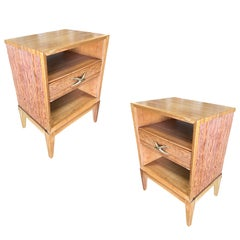 Restored Paul Frankl Combed Wood Bedside Table Pair for Brown Saltman