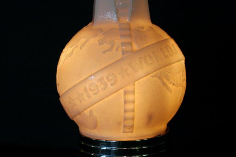 Art Deco 1939 World's Fair Lightup Bottle Airplane Lamp For Sale