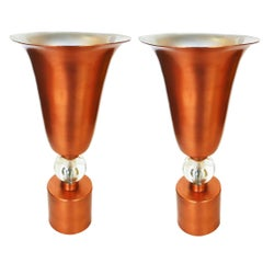 Copper Midcentury Torchère Table Lamps, Pair