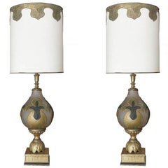 Hand Painted Impasto Frosted Glass Midcentury Table Lamp Pair with Shade