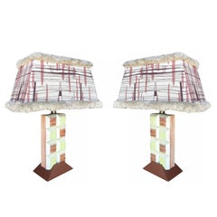 Midcentury Frankl Inspired Combed Cubist Block Table Lamp, Pair