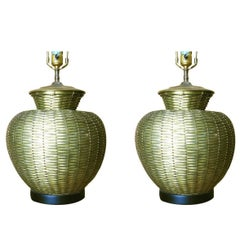 Elegant Woven Brass Table Lamps in the Style of Maitland Smith