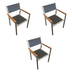 "Aluminum and Teak ""Ozon"" Armchairs by Royal Botania, Set of 4"