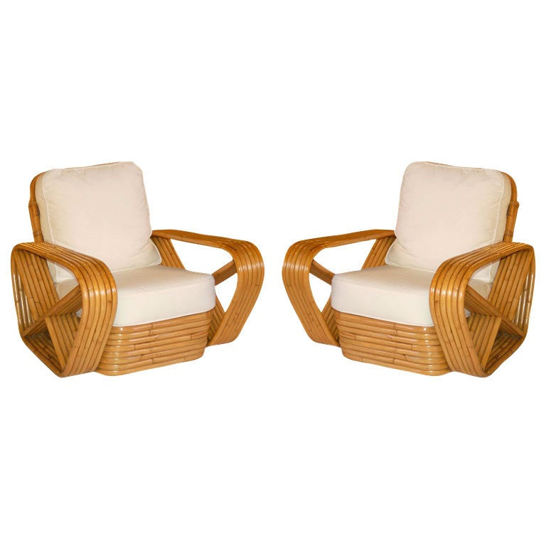 Restored Paul Frankl Style Square Pretzel Rattan Armchairs, Pair For Sale