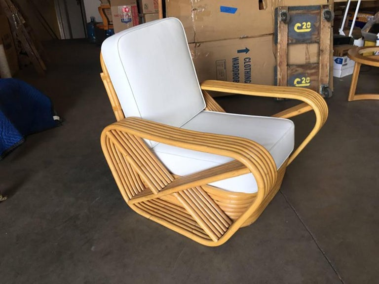 American Restored Paul Frankl Style Square Pretzel Rattan Armchairs, Pair For Sale