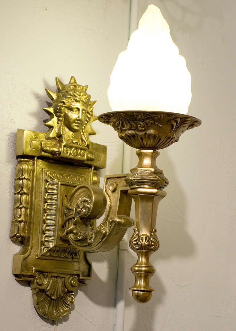 Iconic Art Deco inspired liberty sconce. The liberty sconce is very popular in commercial and residential use. This fixture has been used more than any light in more than 30 feature films and commercials.