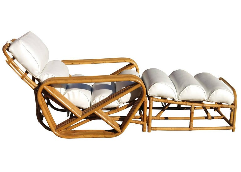 Art Deco Restored Paul Frankl Style Square Pretzel Rattan Lounge Chair with Ottoman For Sale