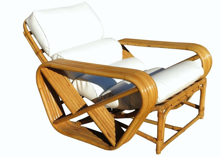 American Restored Paul Frankl Style Square Pretzel Rattan Lounge Chair with Ottoman For Sale