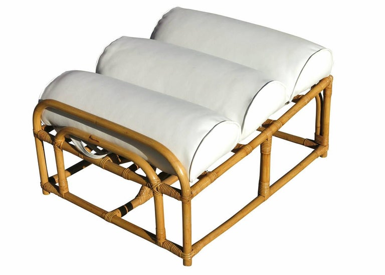 Restored Paul Frankl Style Square Pretzel Rattan Lounge Chair with Ottoman For Sale 3