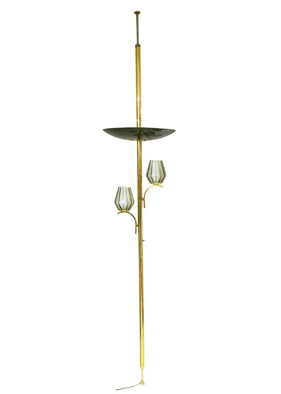 Brass Triple Light Floor To Ceiling Tension Pole Lamp For Sale At