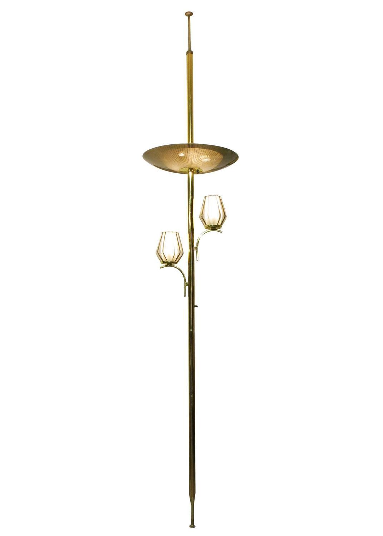 triple light floor to ceiling tension pole lamp for sale at 1stdibs. Black Bedroom Furniture Sets. Home Design Ideas