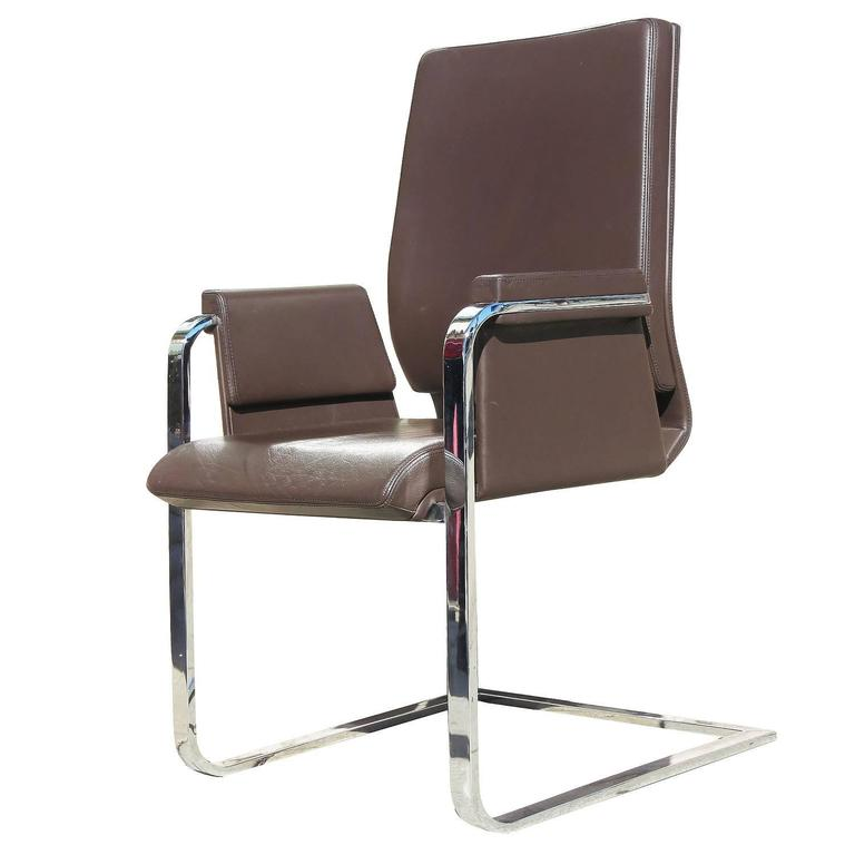 Interstuhl Modern Chrome And Leather Spring Chair Pair At 1stdibs