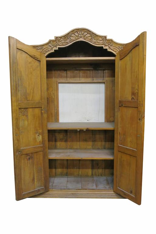 Carved Repurposed Antique Wood Wardrobe TV Cabinet at 1stdibs
