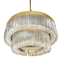 Grand Sculptural Shaped Lucite Ribbon Chandelier