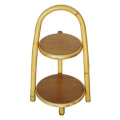 Restored Rattan Two-Tier Side Table Ashtray Drink Stand