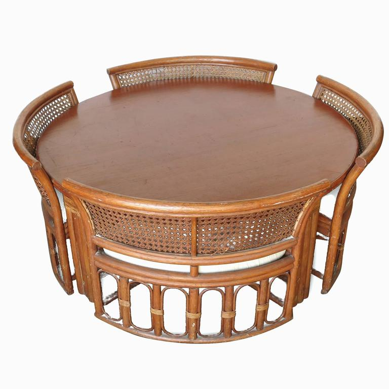 Rattan And Wicker Dining Coffee Table With Hidden Chairs