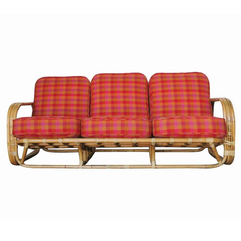 Wicker Restored Streamline Art Deco Rattan Living Room Set For Sale