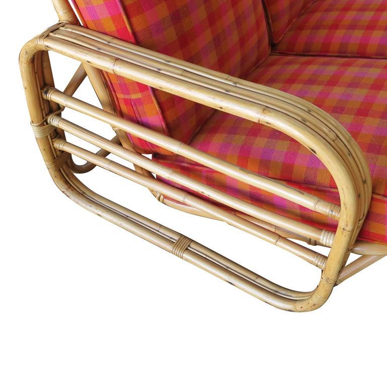 Restored Streamline Art Deco Rattan Living Room Set For Sale 3