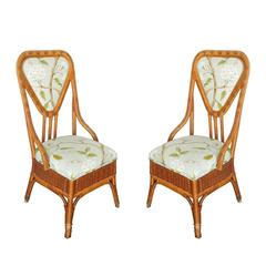 Woven Wicker and Rattan Slipper Chairs with High Back, Pair