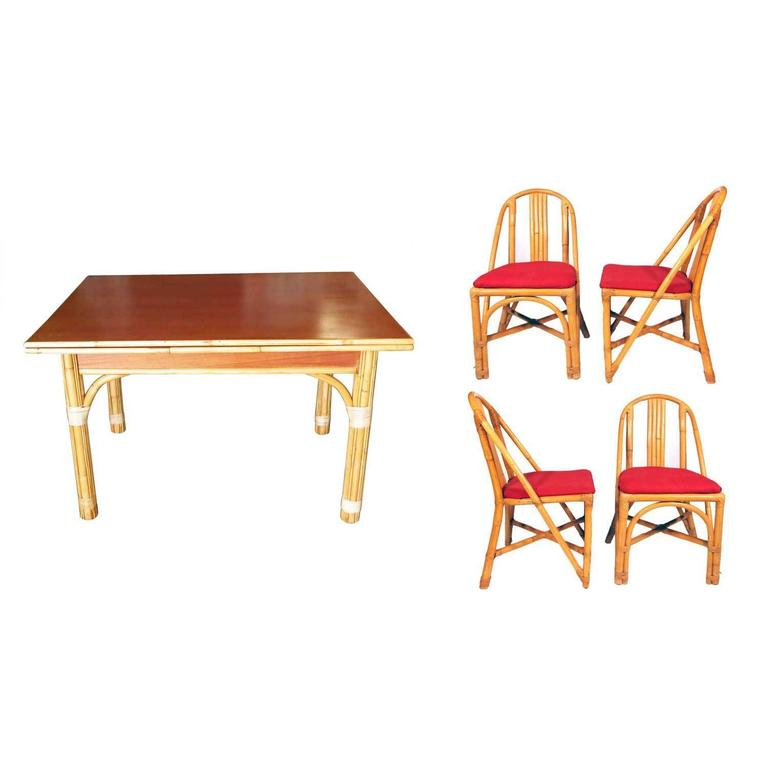 Restored Mid-Century Rattan and Mahogany Dining Set  ** Saturday Sale** 1