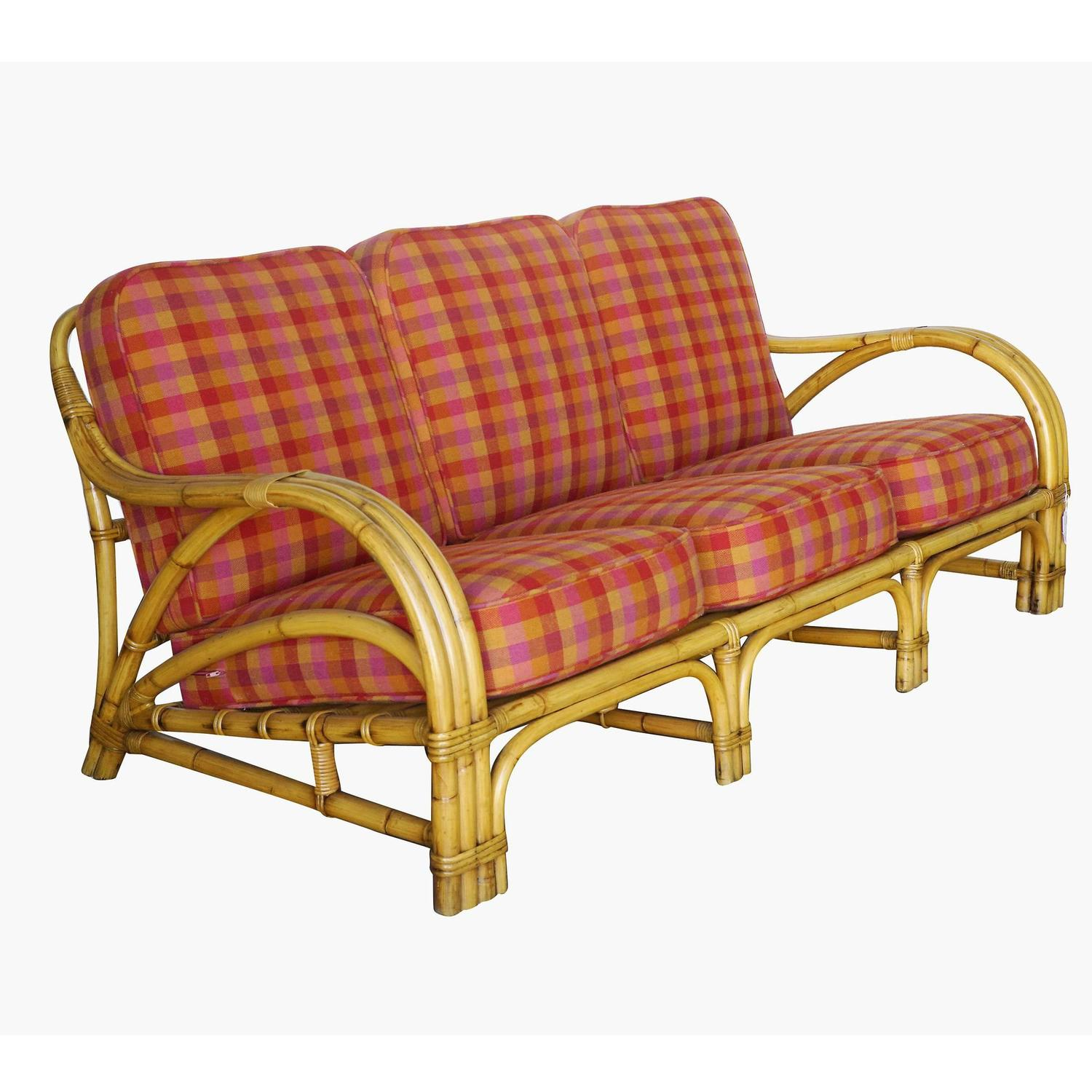 Rare Mid Century Rattan And Mahogany Living Room Set At 1stdibs