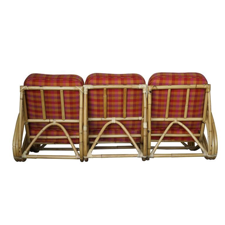 restored three strand s arm rattan living room set for sale at 1stdibs. Black Bedroom Furniture Sets. Home Design Ideas