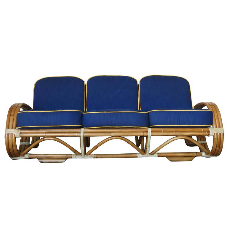 Restored rare reverse pretzel rattan living room set for - Rattan living room furniture for sale ...