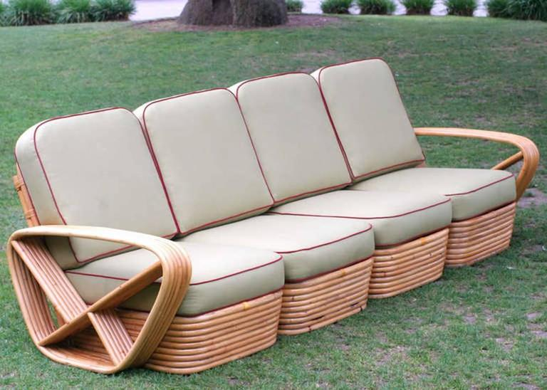 Paul Frankl Sofa ~ Restored square pretzel rattan four seat sofa by paul