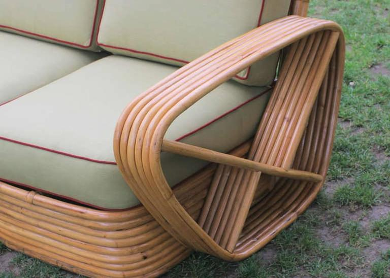 Mid-20th Century Restored Square Pretzel Rattan Four-Seat Sofa by Paul Frankl For Sale