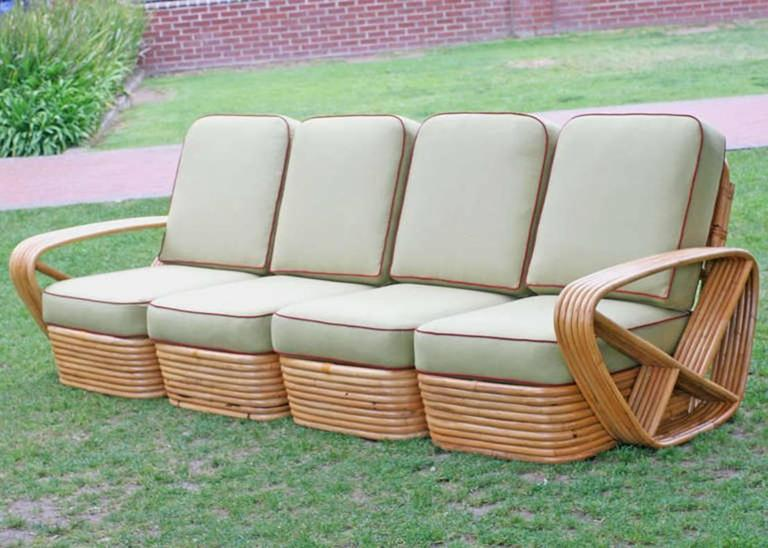 American Restored Square Pretzel Rattan Four-Seat Sofa by Paul Frankl For Sale