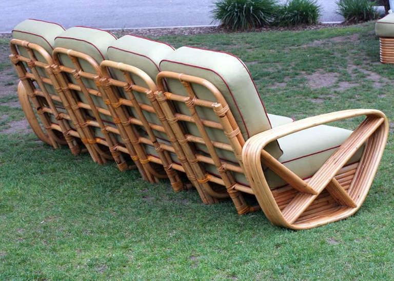 Restored Square Pretzel Rattan Four-Seat Sofa by Paul Frankl In Good Condition For Sale In Van Nuys, CA