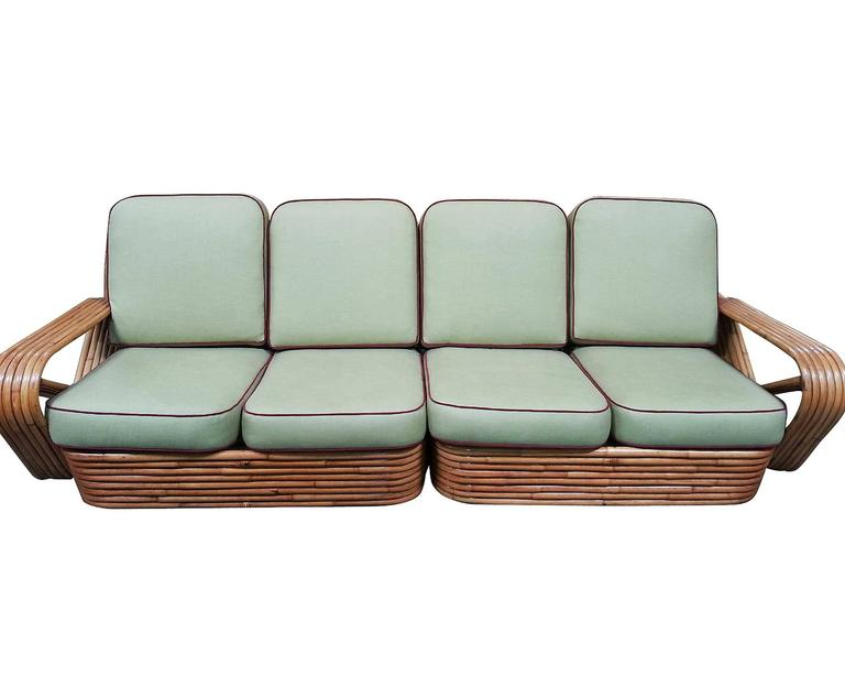 Art Deco Restored Square Pretzel Rattan Four-Seat Two-Piece Sectional Sofa by Paul Frankl For Sale