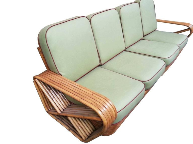 Restored Square Pretzel Rattan Four-Seat Two-Piece Sectional Sofa by Paul Frankl In Good Condition For Sale In Van Nuys, CA