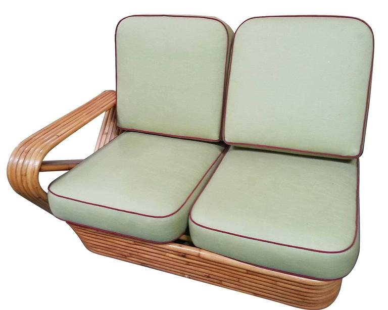 Mid-20th Century Restored Square Pretzel Rattan Four-Seat Two-Piece Sectional Sofa by Paul Frankl For Sale
