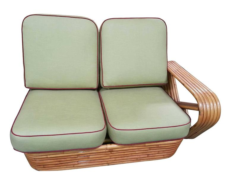 Restored Square Pretzel Rattan Four-Seat Two-Piece Sectional Sofa by Paul Frankl For Sale 1