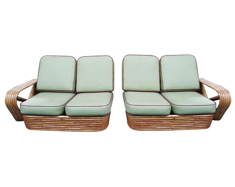 American Restored Square Pretzel Rattan Four-Seat Two-Piece Sectional Sofa by Paul Frankl For Sale