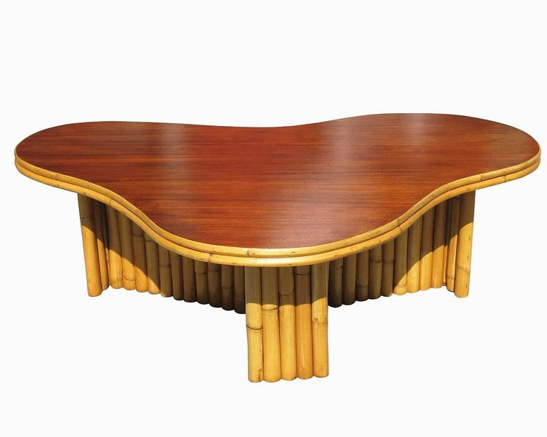 Restored Biomorphic Amoeba Rattan Coffee Table With Mahogany Top At 1stdibs