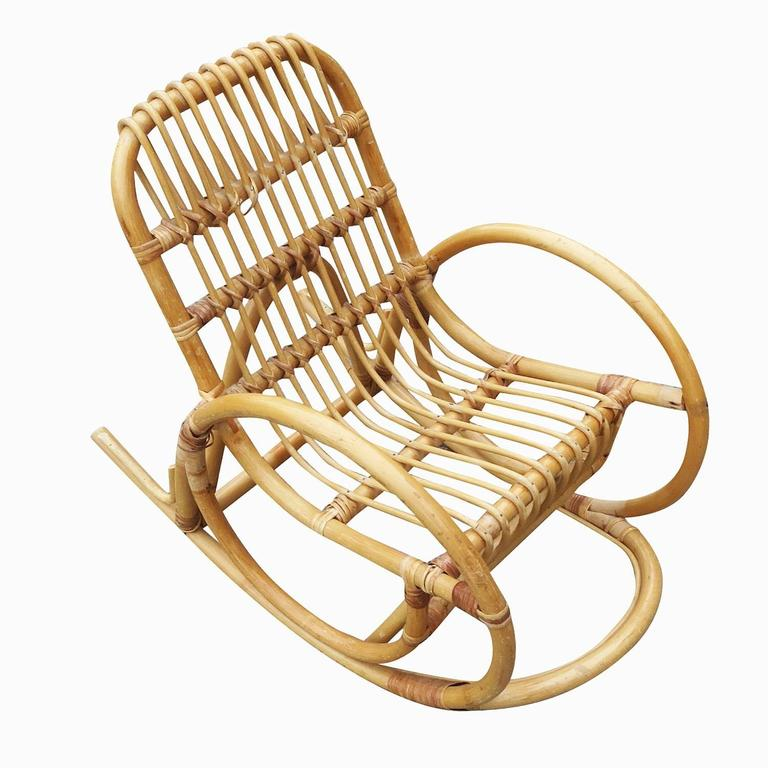 Restored Rare Child S Snake Arm Rattan Rocking Chair For