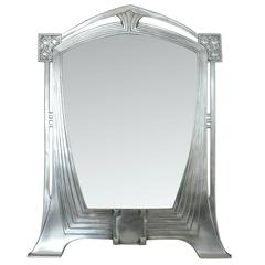French Art Nouveau Style Pewter Table Mirror