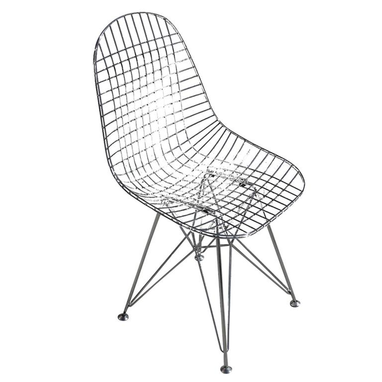 chrome re edition eames dkr wire side chair for herman miller chairs