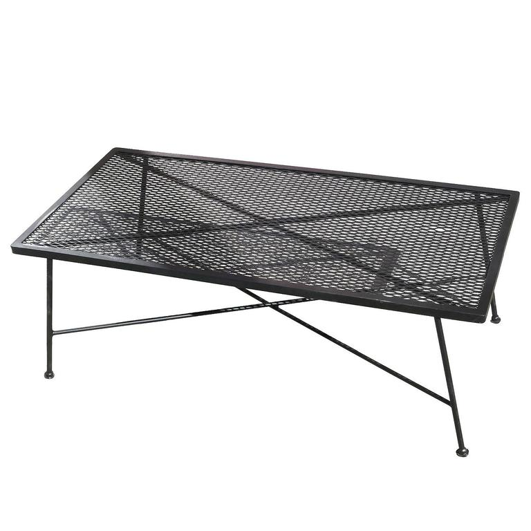 Wrought Iron And Mesh Low Outdoor/Patio Coffee Table By