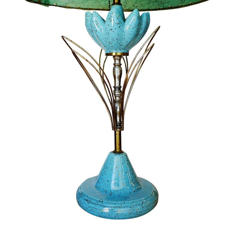 American Ceramic Sculptural Lotus Table lamp with Whipstitch Shade For Sale