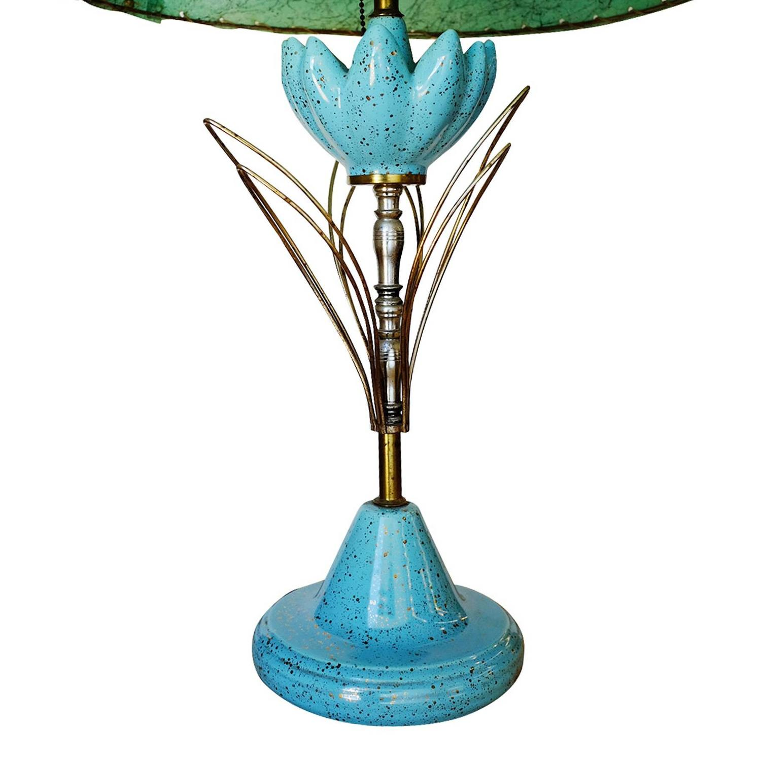 Mid-Century Ceramic Sculptural Lotus Table lamp with Whipstitch Shade ...