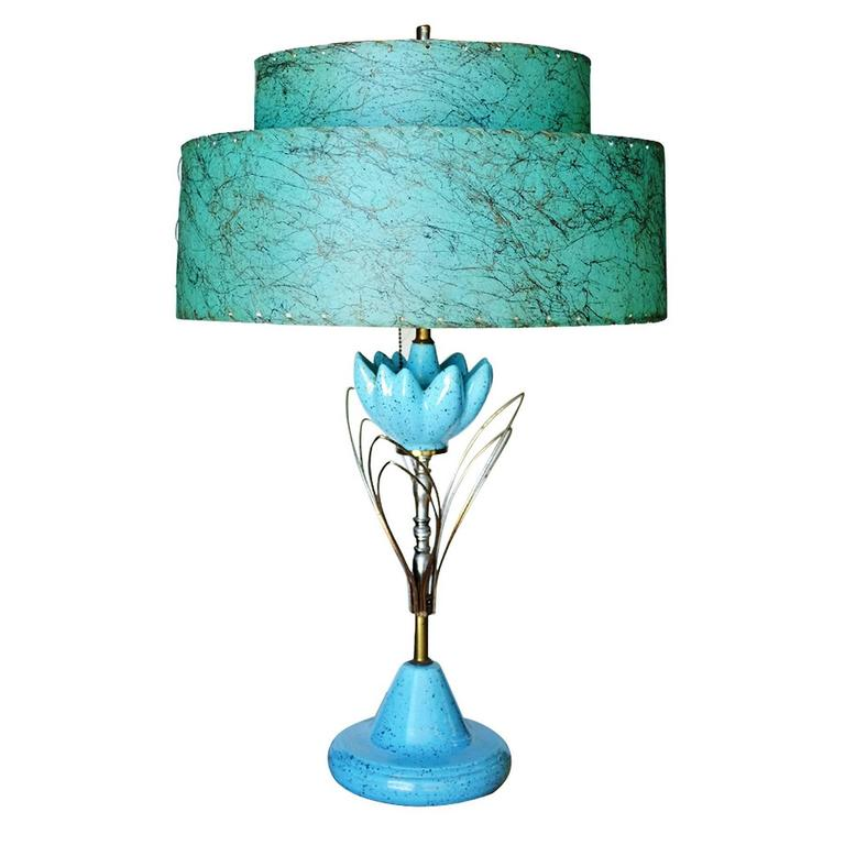 Mid-Century Ceramic Sculptural Lotus Table lamp with ...
