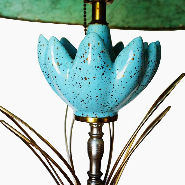 Ceramic Sculptural Lotus Table lamp with Whipstitch Shade In Excellent Condition For Sale In Van Nuys, CA