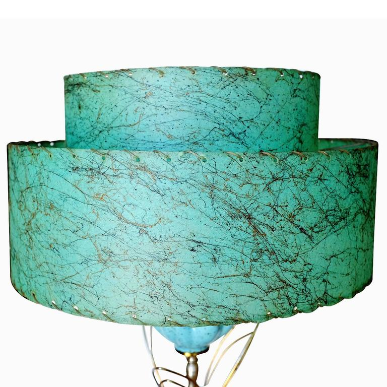 Mid-Century Modern Ceramic Sculptural Lotus Table lamp with Whipstitch Shade For Sale