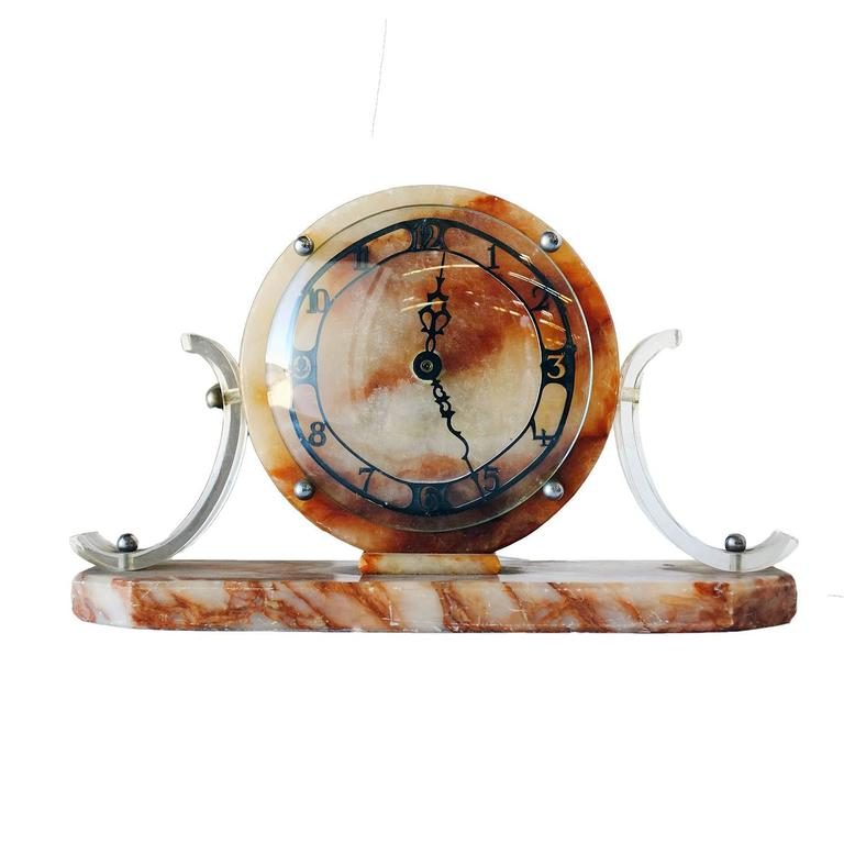 Mid-Century Modern Mid-Century Acrylic and Marble Modernist Mantel Clock For Sale